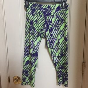 Marika tek lime greens &purple Capri workout pants